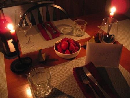 Preparar una cena romantica